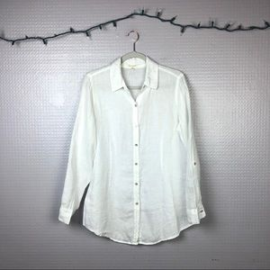 Eileen Fisher   100% Irish Linen White Button Down